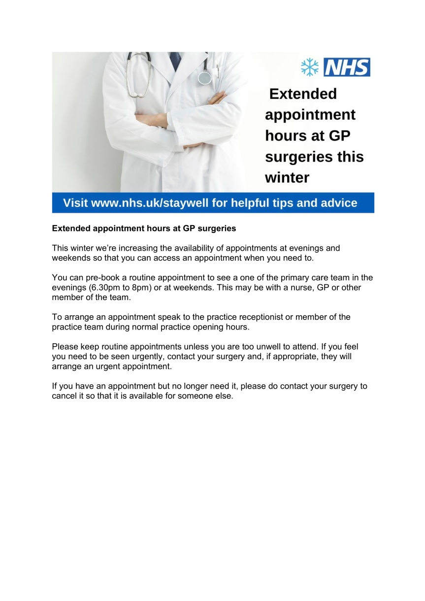 Extended appointment hours at GP surgeries 2019